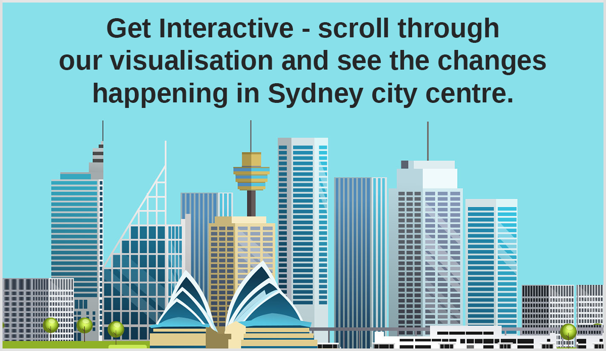 Get Interactive - scroll trough our visualisation and see the changes happening in Sydney city centre.